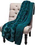 Chanasya Super Soft Warm Elegent Cozy Sherpa Wavey Pattern Teal Blue Throw Blanket - Teal Waivey Pattern
