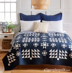 See the featured quilts and web-exclusive color options and projects from the American Patchwork & Quilting April 2020 issue. Owl Quilts, Blue Quilts, Star Quilts, White Quilts, American Patchwork And Quilting, Two Color Quilts, Waves, Room Accessories, Machine Quilting