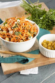 Simple Moroccan Carrot Salad with Spicy Harissa Lemon Dressing Moroccan Carrots, Carrot Salad, Feta, Meal Planning, Spicy, Lemon, Appetizers, Dressing, Cooking Recipes