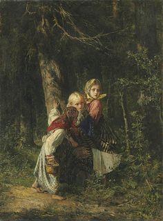 """Alexei Ivanovich Korzukhin - """"Peasant girls in the forest"""""""