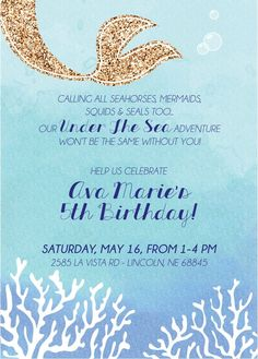 Under The Sea Invite Digital File By CWesterbuhr On Etsy