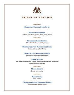 32 Best Valentine Dinner Menus Images On Pinterest Dinner Menu