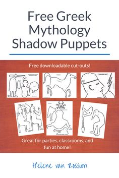 Free Greek mythology shadow puppets, great for parties and classrooms, or fun at home!