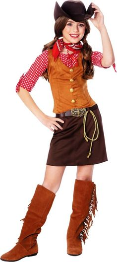 Gunslinger Cowgirl Costume for Girls - Party City
