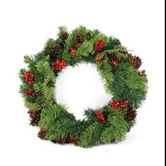 """24"""""""" Red Berry and Pine Cone Artificial Christmas Wreath - Unlit"""