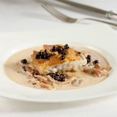 ***ENTREE*** Crusted Grouper with Country Ham & Blueberry Sauce | CALCULATIONS : 346 calories, 23 gm total fat, 2 gm saturated fat, 42 mg cholesterol, 145 mg sodium >> SLOtility.com
