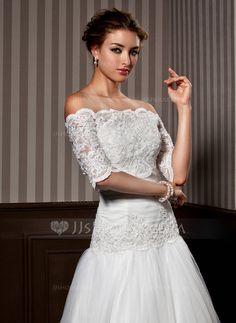 Wraps - $45.99 - Half-Sleeve Lace Wedding Wrap (013020080) http://jjshouse.com/Half-Sleeve-Lace-Wedding-Wrap-013020080-g20080