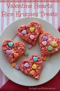 Valentine Hearts Rice Krispies Treats - Saving Cents With Sense Rice Crispy Treats, Krispie Treats, Rice Krispies, Yummy Treats, Delicious Desserts, Sweet Treats, Dessert Recipes, Valentine Desserts, Valentines Food