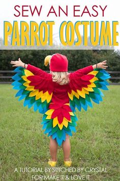 A tutorial to sew an easy parrot costume, perfect for Halloween or dress up! | via Make It and Love It