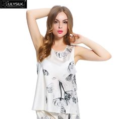 Lilysilk 100% Mulberry Silk Tops Ladies Fabric Pure Floral 19 Momme Sexy Lingerie White Lotus Luxurious Tank Top Korean Clothes