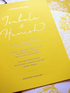 Floral illustration, Yellow and White with Gold Foil Wedding Invitation - Deposit