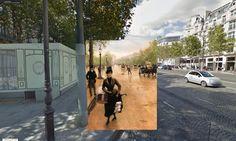 Classic Paintings Meet Google Earth street view Paris - La_Modiste_Sur_Les_Champs_Elysees 1889 Jean_Béraud