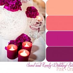 Mulberry, violet, salmon, peach  Deep red violet tablescape
