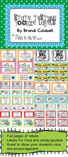 State Testing can be stressful for students. Make their day a little happier by attaching these colorful and fun labels to goodies for your kiddos. $