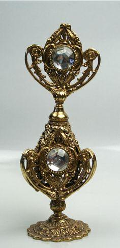Vintage 3 Sided Gold Ormolu Filigree Perfume Bottle with Huge Rhinestones