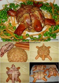 xelona_mpifteki_ Food Art, Hot Dogs, Asparagus, Sweets, Vegetables, Eat, Cooking, Party Recipes, Greek