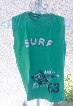 Green boys tank sleevles shirt WINDSURFING size 12 eur age 10-11 - 2.99$