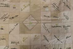 Unusual Edwardian patchwork bedspread which has been signed by members of the Royal Family, The Nobility, Edwardian Society and Politicians - the signatures embroidered over with crowns and coronets above - they include Queen Alexandra, Princesses Helena, Louise and Beatrice, Lloyd George, Admiral Beresford, Admiral Beatty, General Haig, General Smuts, 128cm x 170cm