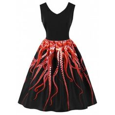 Free shipping 2018 Retro Octopus 3D Print Pin Up Dress BLACK L under $23.70 in Vintage Dresses online store. Best Off The Shoulder Bodycon Dress and Lace Trim Dress for sale at Dresslily.com.