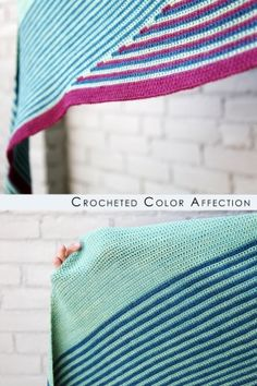 Crocheted Color Affection shawl crocheted by Grace H. in Fibre Company Canopy yarn.  #crochetpatterns