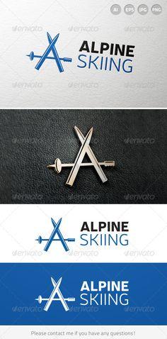 Alpine Mountain Skiing Resort Logo