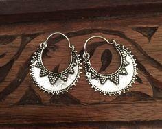 Ethnic earrings - tribal hoop earrings - silver earrings - vintage - ethnic jewelllery - tribal - boho - gypsy - style