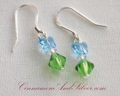 Light Blue Crystal Swarovski Butterfly Earrings, Butterfly Earrings, Blue and Green Earrings, Green Crystal Earrings, Spring Earrings by CinnamonandSilver on Etsy