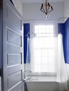 Cobalt + White Bath. Simply Beautiful Small-Space Design >> http://www.hgtv.com/bathrooms/10-big-ideas-for-small-bathrooms/pictures/page-3.html?soc=pinterest