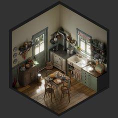 ArtStation - Vintage kitchen - Isometric, Jose Olmedo
