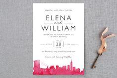 """Skyline -New York"" - Hand Drawn, Cities & States Wedding Invitations in Magenta by Laura Condouris."