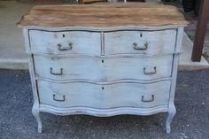 Primitive & Proper: Slate Milk Paint + Wood Top = Rustic Love serpentine dresser