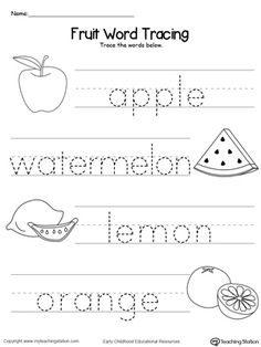 Practice identifying beginning letter sound of fruits and tracing the words in this printable worksheet.
