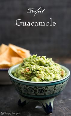 Perfect Guacamole ~ Classic guacamole recipe, made with ripe avocados, Serrano chiles, cilantro and lime. Garnish with red radishes or jicama. Serve with tortilla chips. ~ SimplyRecipes.com