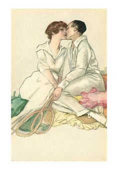 A romantic c.1910s print of a couple kissing between tennis matches. #vintage #Edwarian #couples #tennis #sports