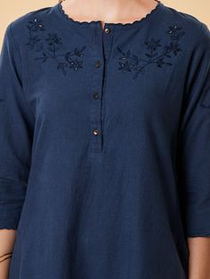 Buy Navy Blue Cutwork Embroidered Cotton Linen Kurta online at Theloom