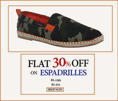 Find Flat 30% Off On Espadrilles for Men from Zobello, Grab The Offer, Only Few are Left