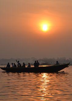 Boats at sunset in Varanasi, India