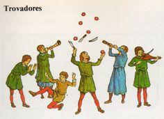 Los trovadores eran las personas que cantaban, tocaban y escribían música no religiosa en la Edad Media. Había distintos tipos de trovadores. Los actores y   músicos vagabundos a menudo incluían juglares y acróbatas en sus grupos; en Francia se llamaban jongleurs, en Inglaterra gleemen y en España juglares