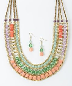 Pretty Tiered Necklace & Drop Earrings