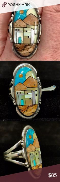 """Native American Signed Inlay Sterling Silver Ring Vintage Haida Native American Signed Multi-gemstone Mosaic Micro Inlay Sterling Silver Ring. Pueblo Village Scene design. Mosaic Inlay is a type of lapidary where each stone is inlaid directly against the next stone. The Haida is an Alaska Indian tribe. This is a gorgeous masterfully handcrafted ring. The village is depicted at dusk-sun setting&moon rising. stamped sterling& hallmarked """"ND"""". The gem array used is spiny oyster, picture rock…"""