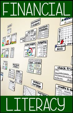 Financial Literacy Word Wall With references for sales tax, gratuity, discounts, percent change, cre Consumer Math, Math Word Walls, Exponential Growth, Math Words, Budget Planer, Budgeting Finances, Budgeting Tips, Math Classroom, Business Education Classroom