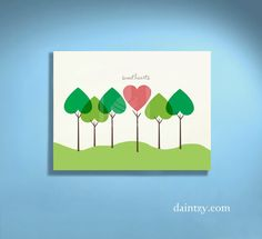 Forest of Love Hearts Printable Personalized Valentine's Day Art - Perfect Gift for Your Sweetheart by Daintzy. $8.99, via Etsy.