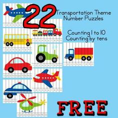 FREEBIE: Transportation Theme : 22 Number Puzzles | Counting to 10