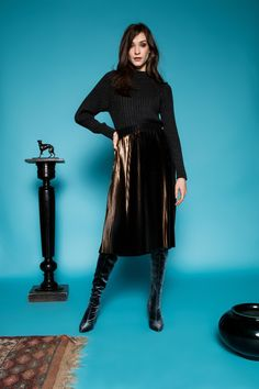 Escalier bronze skirt by Celeni Roll Neck, Straight Cut, Grey Sweater, Pleated Skirt, Bronze, Skirts, Sweaters, Black, Style