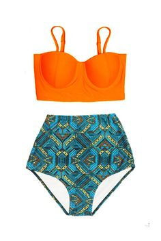 Orange Underwire wire Top and Graphic High Waisted Waist Highwaisted Highwaist Handmade Bikini set Swimsuit Swimwear Bathing suit S M L XL by venderstore on Etsy
