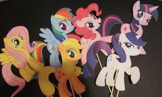 Set of 6 My Little Pony Sticks DIY Centerpiece  by KhloesPartyCrafts on Etsy,
