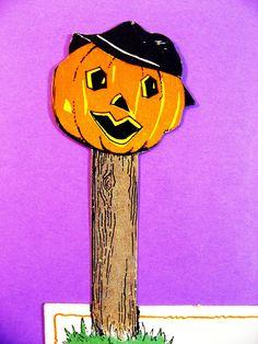 3 Vintage Halloween Place Cards Stand UPS Jack O Lanterns on Posts Unused   eBay