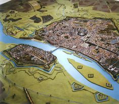 Maastricht, The Netherlands, model of the ancient walled city.