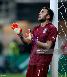 Goalkeeper Francesco Bardi of Italy reacts during the U21 International friendly match between...