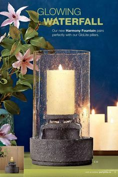 "Partylite NEW Harmony Fountain  Stone-look resin, bubble glass sleeve, glass votive cup, electrical cord/pump. Simple assembly required. 12"" (30 cm) h, 6 1/2""(17 cm) diam. (In glass cup; votive, tealight; without cup; pillar, escential jar, tealight, large tealight.  $100.00"